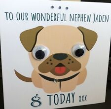 Personalised Pug Dog G👀gly Eye Birthday Card Any lName Age Message Girl Boy