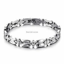 Ladies Star Golf Stainless Steel Chain Magnetic Stone Silver Tone Bracelet