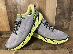 Hoka One One Clifton 2 Men Size 12.5 Running Shoe Grey Green/Yellow Ortholite