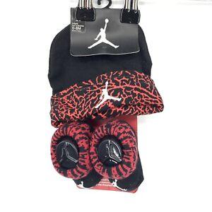 Jordan Baby Boy 0-6 Month Set Infant Hat and Booties Black Red Printed