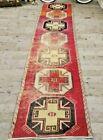 Red Turkish Kitchen Rug, Antique Runner Rug, Hallway Rug, 3x12 ft, Corridor Rug