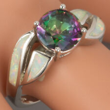 8mm Round Rainbow Mystic Topaz White Fire Opal Silver Jewelry Ring US Size 7 8 9