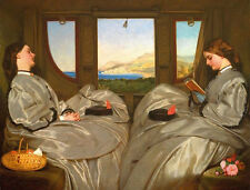Oil Hand painted Augustus Egg The Travelling Companion women On the train