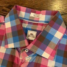 Men's Peter Millar Button-Front Shirt Plaid Checks Large