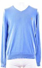 POLO RALPH LAUREN Mens V-Neck Jumper Sweater XL Blue Cotton  BW16