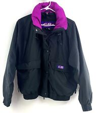 Vintage 90s CB Sports Womens M Ski Jacket Button Zip Hideaway Hood Black/Purple