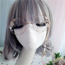Lolita Sweet Cute Cosplay Oval Eyeglass Frame Plain Glass Spectacles Stars Chain