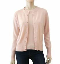 MAXFIELD LA Pink Cashmere Twinset Short Sleeve Sweater Button Front Cardigan M