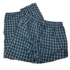 High Sierra Mens Lounge Pants Blue Gray Plaid Drawstring Pockets 100% Cotton L