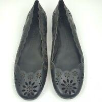 Jack Rogers Black Leather Ballet Flats Shoes Cut Out  Womens Size 9.5M