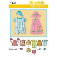 SIMPLICITY SEWING PATTERN BABIES ROMPER DRESS TOP PANTIES HATS XXS - L 1447 SALE