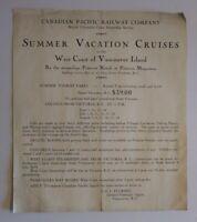 Antique Canadian Pacific Railway Steamship Tour Advertisement 1930's Vancouver