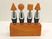 4 Classic TURNED WOOD Cone Style Wine BOTTLE STOPPERS wChrome, Silicone In Block