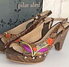 Pilar Abril Womens Sandals Size 6.5 EU40 Leopard Print Camel Sling Back Peep Toe