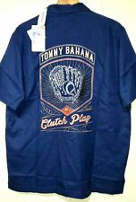 Tommy Bahama MLB Embroidered Silk Short Sleeve Button Shirt Mens 2XL NWT $175.00