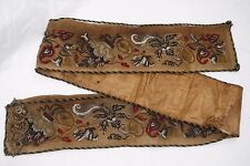 Rare Antique Victorian Petit Point Embroidered Bell Pull Original