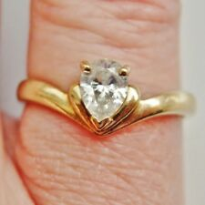 Stunning 9ct Gold Heart Shaped Diamond Solitaire Ring (0.45cts); UK Size 'M 1/2'