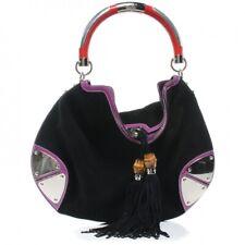 GUCCI Large Indy Black Suede Top Handle Hobo Bag