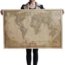 US Seller- world map kraft paper retro poster master bedroom decor