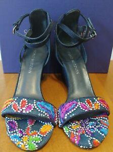 Stuart Weitzman Pipebackup Embroidered Carnival Denim Wedge Sandal NIB Size 41