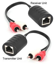 Stereo RCA Audio Balun Extender Over Ethernet Cable Max 250FT