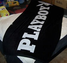 Playboy Logo Black Reversible Printed Velour Beach Towel 86cm x 180cm New