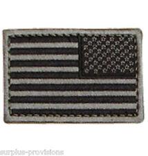 "Condor - Reverese American Flag Patch 2"" x 3""inch Black & Gray -Hook & Loop Back"