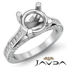 Side Diamond Engagement Women Unique Ring Round Semi mount 0.76Ct 14k White Gold