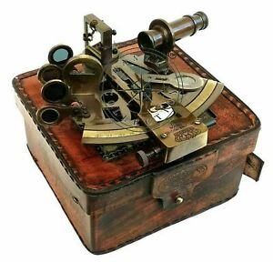Nautical Brass Sextant Handmade Working Marine Vintage Sextant With Leather Box.