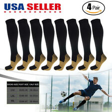 4 Pairs Copper Compression Socks 20-30mmHg Graduated Support Mens Womens S-XXL