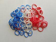 Petits élastiques à cheveux fin bleu blanc rouge - 1.5cm - lot de 120 - ELAS24