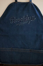 Brooklyn Script Blue Jean Denim APRON Adjustable Wide Strap 3 ROOMY POCKETS