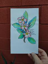 "Plumeria Scripture Original Line & Wash Watercolor RAMfish Artist 8"" x 5 1/2"""