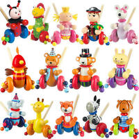 Cartoon Cute Animal Cart Toys PUSH ALONG WOODEN TOY Baby/Toddler/Kids Walking ZH