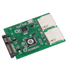 2 Port Dual SD SDHC MMC RAID to SATA Adapter Converter, No SD Card Size Limit