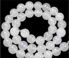 8mm White Jade Round Loose Beads 15""
