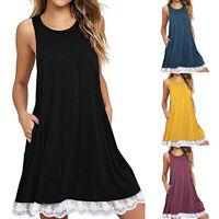 Beach Women Loose Dress Soft Swing Mini O-Neck Casual Sleeveless A-Line Cotton