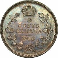 1918 Canada Five Cents Silver -Very Nice High Grade Circ -Great Color! -d563sut2