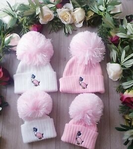 BABY GIRLS JEMIMA  PUDDLE DUCK BIG WOOL  POM HAT PETER RABBIT & FLOPSY AVAILABLE
