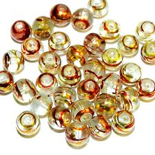 GL4475L Crystal Clear 6mm Round Drawbench Metallic Swirl Glass Beads 80pc