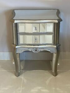 Pair Mirrored Argente French Style Bedroom Bedside Drawers Antique Silver X 2