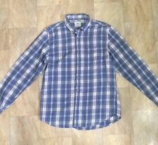 Mens Primark Thin Checked Long Sleeve Button Up Shirt Blue Grey Size M