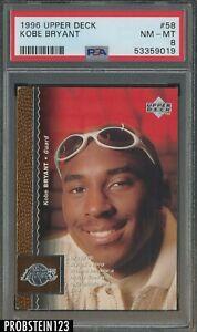 1996 Upper Deck #58 Kobe Bryant Los Angeles Lakers RC Rookie HOF PSA 8 NM-MT