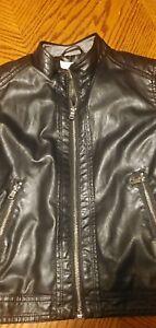 H&M Boys Faux Leather Jacket Coat~Size 7/8 Y~Lined~Black~Biker~EXC!