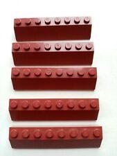 Lego 4445 2x8 Slope DARK RED BURGUNDY X5 VGC