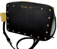 Michael Kors Crossbody Bag Purse Sandrine Stud Saffiano Leather Black Gold NWT