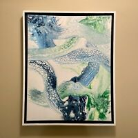 Blue Green And White Abstract original modern acrylic painting | ships free