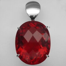 SPECTACULAR! RED TOPAZ OVAL&CHECKERBOARD 29.9CT. STERLING 925 SILVER PENDANT