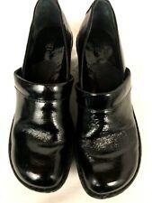 Born Women's Black Textured Patent Leather Slip On Clogs SZ 8M