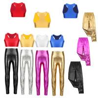 Kids Girls Shiny Metallic Skinny Pants Gymnastics Dance Crop Top Club Leggings